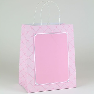 Shamrock 10in. x 7in. x 12 1/2in. Parisian Pastry Large Shopping Bags, Pink