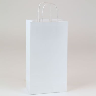 Shamrock 6 1/2in. x 3 1/2in. x 12 3/8in. Small Double Bottle Puma Kraft Shopping Bags, White