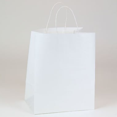 Shamrock 10in. x 7in. x 12 1/2in. Paper Wide Carryout Bengal Kraft Shopping Bags, White