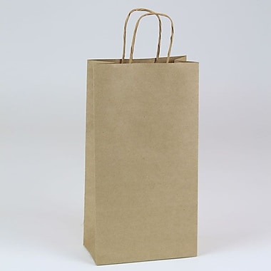 Shamrock 6 1/2in. x 3 1/2in. x 12 3/8in. Bottle Paper Puma Shopping Bags, Kraft Natural Beige