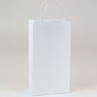Shamrock 6 1/2in. x 3 1/2in. x 12 3/8in. Recycled Puma Kraft Shopping Bags, White