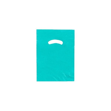 Shamrock Plastic 12in.H x 9in.W Low Density Shopping Bags, Teal Blue, 1000/Carton