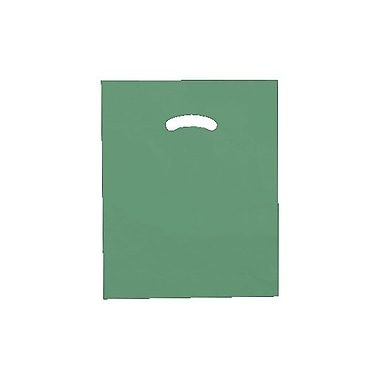 Shamrock 12in. x 15in. Low Density Single Layer Kidney Die-Cut Handle Bags, Dark Green