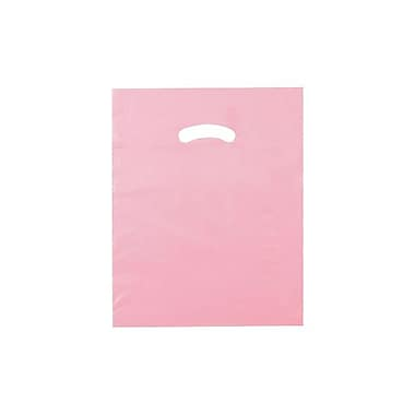 Shamrock 12in. x 15in. Low Density Single Layer Kidney Die-Cut Handle Bags, Dusty Rose Pink