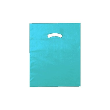 Shamrock 12in. x 15in. Low Density Single Layer Kidney Die-Cut Handle Bags, Teal Blue