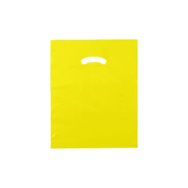 Shamrock 12in. x 15in. Low Density Single Layer Kidney Die-Cut Handle Bags, Yellow