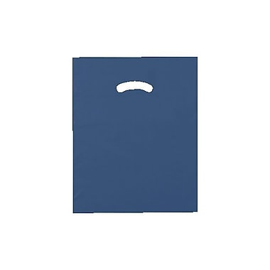 Shamrock 12in. x 15in. Low Density Single Layer Kidney Die-Cut Handle Bags, Navy Blue