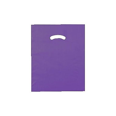 Shamrock 12in. x 15in. Low Density Single Layer Kidney Die-Cut Handle Bags, Purple