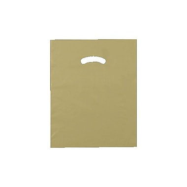 Shamrock 12in. x 15in. Low Density Single Layer Kidney Die-Cut Handle Bags, Gold