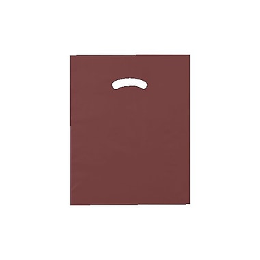 Shamrock 12in. x 15in. Low Density Single Layer Kidney Die-Cut Handle Bags, Burgundy Red