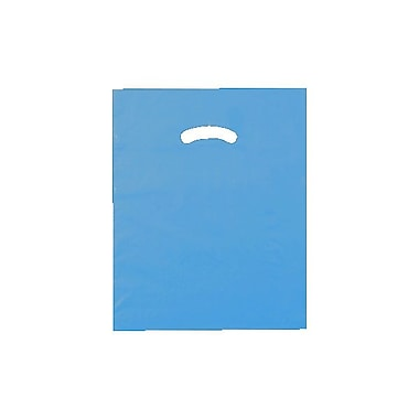 Shamrock 12in. x 15in. Low Density Single Layer Kidney Die-Cut Handle Bags, Dark Blue