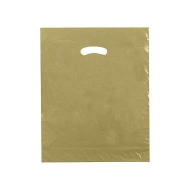 Shamrock 15in. x 18in. x 4in. Low Density Single Layer Kidney Die-Cut Handle Bags, Gold