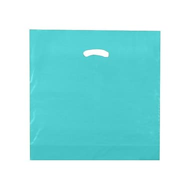 Shamrock 18in. x 18in. x 4in. Low Density Single Layer Kidney Die-Cut Handle Bags, Teal Blue