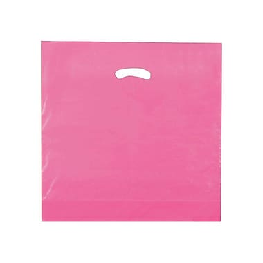 Shamrock 18in. x 18in. x 4in. Low Density Single Layer Kidney Die-Cut Handle Bags, Hot Pink