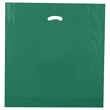 Shamrock 20in. x 20in. x 5in. Low Density Single Layer Kidney Die-Cut Handle Bags, Dark Green