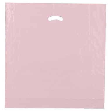 Shamrock 20in. x 20in. x 5in. Low Density Single Layer Kidney Die-Cut Handle Bags, Dusty Rose
