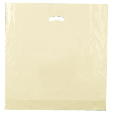 Shamrock 20in. x 20in. x 5in. Low Density Single Layer Kidney Die-Cut Handle Bags, Ivory