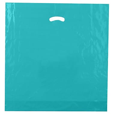 Shamrock 20in. x 20in. x 5in. Low Density Single Layer Kidney Die-Cut Handle Bags, Teal Blue