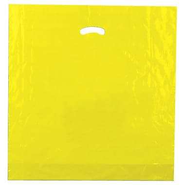 Shamrock 20in. x 20in. x 5in. Low Density Single Layer Kidney Die-Cut Handle Bags, Yellow