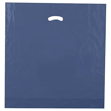 Shamrock 20in. x 20in. x 5in. Low Density Single Layer Kidney Die-Cut Handle Bags, Navy Blue