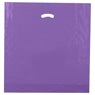 Shamrock 20in. x 20in. x 5in. Low Density Single Layer Kidney Die-Cut Handle Bags, Purple