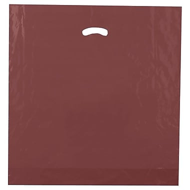 Shamrock 20in. x 20in. x 5in. Low Density Single Layer Kidney Die-Cut Handle Bags, Burgundy Red