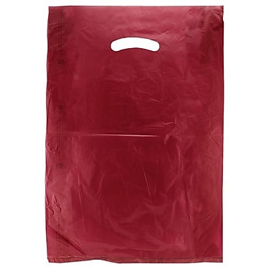Shamrock 12in. x 3in. x 18in. High Density Die-Cut Handle Merchandise Bags, Burgundy Red