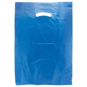 "Shamrock Plastic 18""H x 12""W x 3""D High Density Die-Cut Handle Merchandise Bags, Dark Blue, 500/Carton"