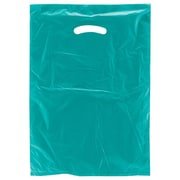 "Shamrock Plastic 18""H x 12""W x 3""D High Density Die-Cut Handle Merchandise Bags, Teal, 500/Carton"