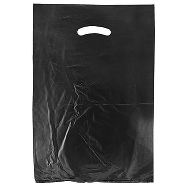 Shamrock 12in. x 3in. x 18in. High Density Die-Cut Handle Merchandise Bags, Black