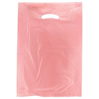 Shamrock 12in. x 3in. x 18in. High Density Die-Cut Handle Merchandise Bags, Dusty Rose Pink