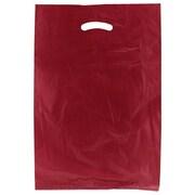 Shamrock 13 x 3 x 21 High Density Die-Cut Handle Merchandise Bags, Burgundy Red