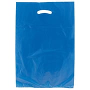 "Shamrock Plastic 21""H x 13""W x 3""D Die-Cut Handle Merchandise Bags, Dark Blue, 500/Carton"