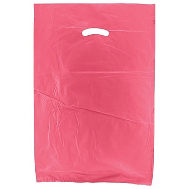 Shamrock 16in. x 4in. x 24in. High Density Die-Cut Handle Merchandise Bags, Magenta Pink