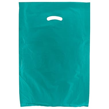 Shamrock 16in. x 4in. x 24in. High Density Die-Cut Handle Merchandise Bags, Teal Blue