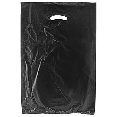 Shamrock 16in. x 4in. x 24in. High Density Die-Cut Handle Merchandise Bags, Black