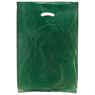 Shamrock 16in. x 4in. x 24in. High Density Die-Cut Handle Merchandise Bags, Dark Green