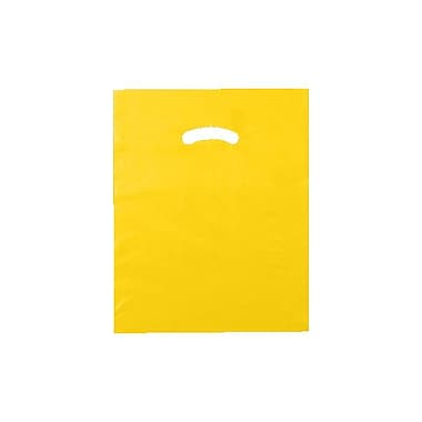 Shamrock 12in. x 15in. Low Density Single Layer Kidney Die-Cut Handle Bags, Marigold Yellow