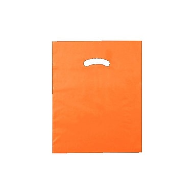 Shamrock 12in. x 15in. Low Density Single Layer Kidney Die-Cut Handle Bags, Burnt Orange