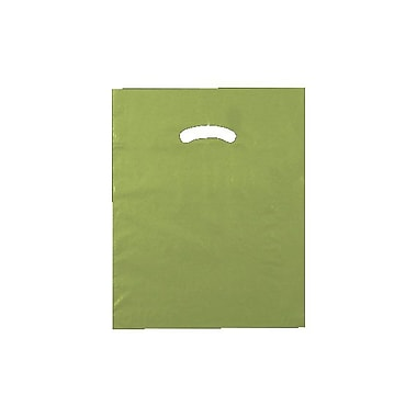 Shamrock 12in. x 15in. Low Density Single Layer Kidney Die-Cut Handle Bags, Cactus Green