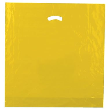 Shamrock 20in. x 20in. x 5in. Low Density Single Layer Kidney Die-Cut Handle Bags, Marigold