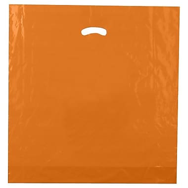 Shamrock 20in. x 20in. x 5in. Low Density Single Layer Kidney Die-Cut Handle Bags, Burnt Orange