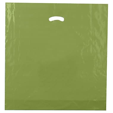 Shamrock 20in. x 20in. x 5in. Low Density Single Layer Kidney Die-Cut Handle Bags, Cactus Green