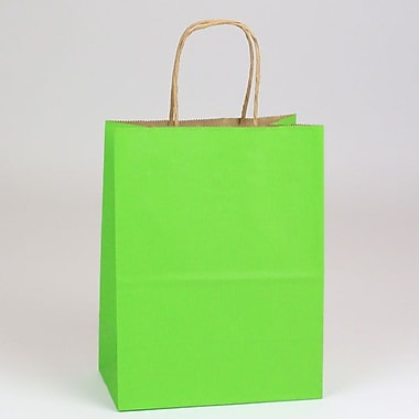 Shamrock 8in. x 4 3/4in. x 10 1/2in. Shadow Stripe Kraft Paper Chimp Shopping Bags, Apple Green