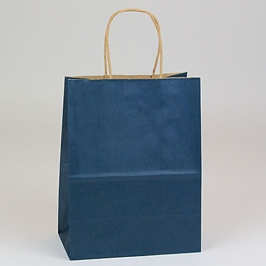 Shamrock 8in. x 4 3/4in. x 10 1/2in. Shadow Stripe Kraft Paper Chimp Shopping Bags, Navy Blue