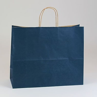 Shamrock 16in. x 6in. x 13in. Shadow Stripe Kraft Paper Jaguar Shopping Bags, Navy Blue