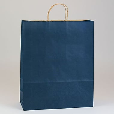 Shamrock 16in. x 6in. x 19 1/4in. Shadow Stripe Kraft Paper Shopping Bags, Zebra Navy Blue