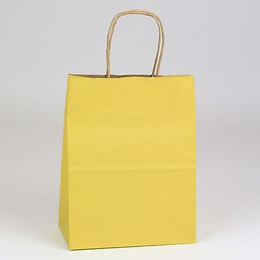 Shamrock 8in. x 4 3/4in. x 10 1/2in. Shadow Stripe Kraft Paper Chimp Shopping Bags, Mellow Yellow