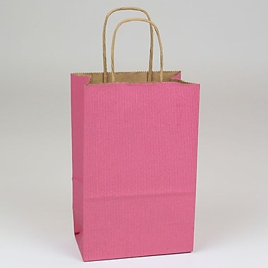 Shamrock 5 1/2in. x 3 1/4in. x 8 3/8in. Shadow Stripe Kraft Paper Toucan Shopping Bags, Lipstick Pink