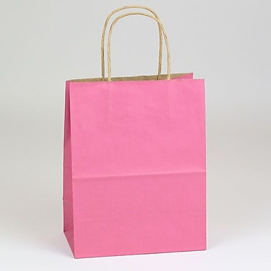 Shamrock 8in. x 4 3/4in. x 10 1/2in. Shadow Stripe Kraft Paper Chimp Shopping Bags, Lipstick Pink